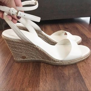 Tory Burch white Landon leather espadrille wedges